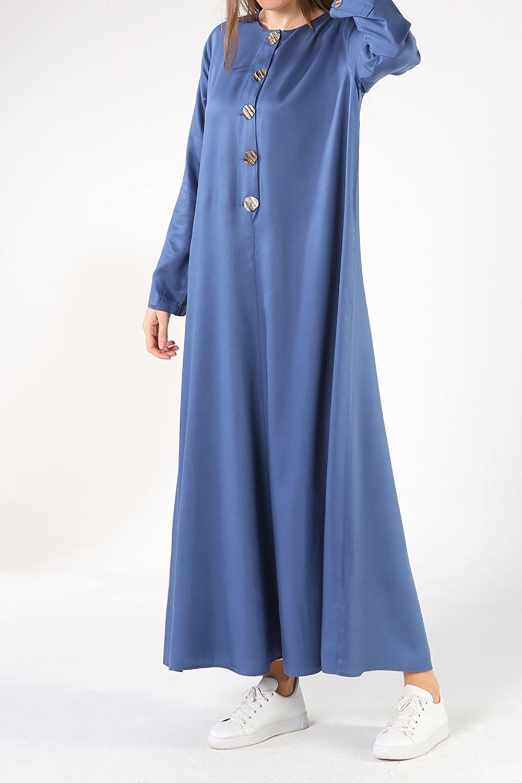 Tesettür Büyük Beden Elbiseler Allday İndigo Kadın 38