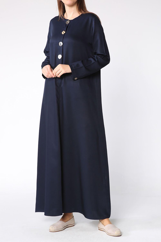 Tesettür Büyük Beden Elbiseler Allday Lacivert Kadın 38