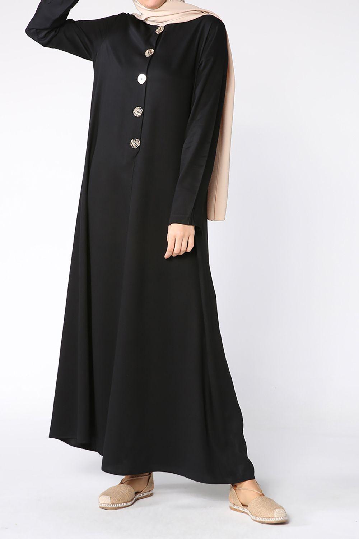 Tesettür Büyük Beden Elbiseler Allday Siyah Kadın 42