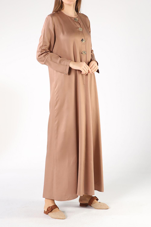 Tesettür Büyük Beden Elbiseler Allday Vizon Kadın 38