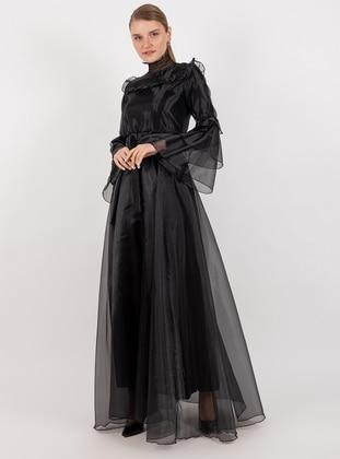 Black - Shawl Collar - Dress