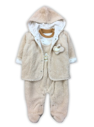 Crew neck -  - Unlined - Beige - Baby Suit - BY LEYAL