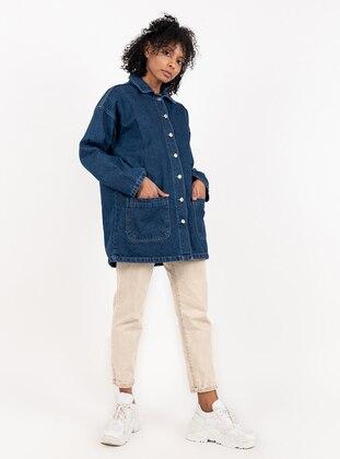 Navy Blue - Point Collar - Denim - Jacket