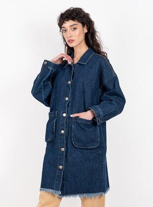 Navy Blue - Unlined - Point Collar - Denim - Jacket