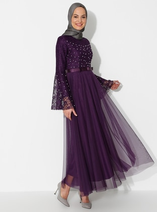 Purple - Fully Lined - Crew neck - Muslim Evening Dress - BÜRÜN