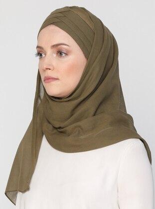 Khaki - Plain - Cotton - Instant Scarf