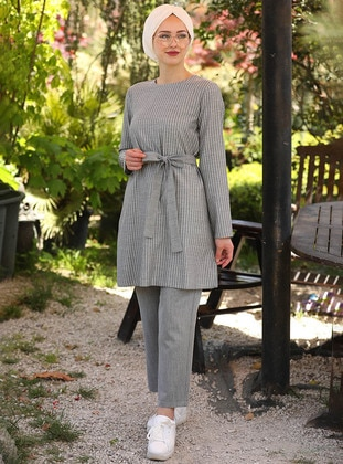 Gray - Stripe - Unlined -  - Suit - İnşirah