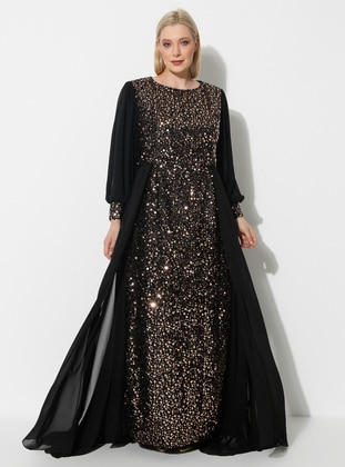 Copper - Black - Fully Lined - Crew neck - Modest Plus Size Evening Dress