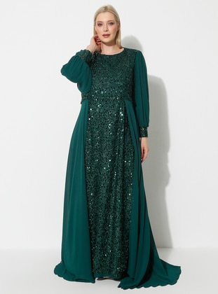 Emerald - Fully Lined - Crew neck - Muslim Plus Size Evening Dress