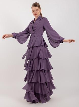Lilac - Fully Lined - Shawl Collar - Muslim Evening Dress