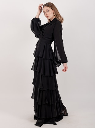 Black - Shawl Collar - Fully Lined - Dress