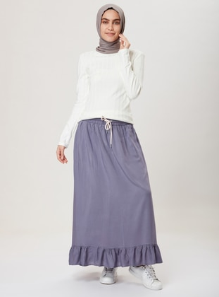 Anthracite - Unlined - Viscose - Skirt
