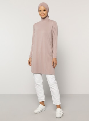 Pink - Polo neck - Viscose - Tunic