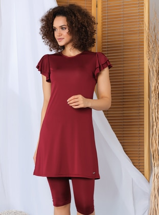 Maroon - Half Covered Switsuits - Alfasa
