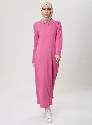 Pink - Point Collar -  - Dress