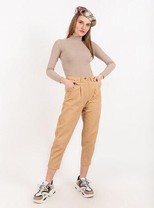 Tan - Denim -  - Pants