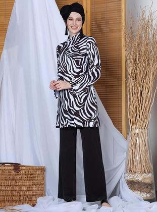 Black - Zebra - Fully Covered Swimsuits