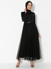 Black - Fully Lined - Crew neck - Muslim Evening Dress