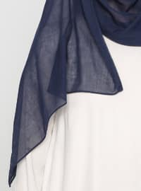 Navy Blue - Plain - Cotton - Instant Scarf