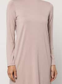 Pink - Polo neck - Viscose - Tunic