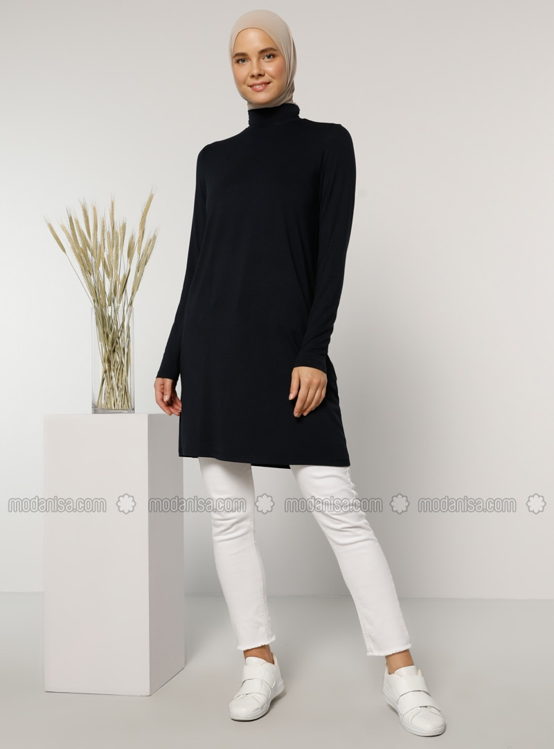 Navy Blue - Polo neck - Viscose - Tunic