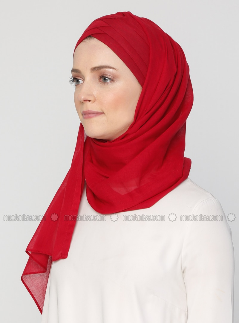 Maroon - Plain - Cotton - Instant Scarf