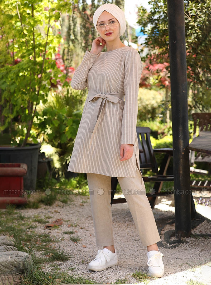 Beige - Stripe - Unlined -  - Suit