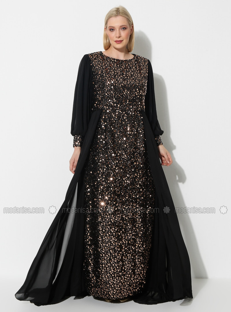 Copper - Black - Fully Lined - Crew neck - Muslim Plus Size Evening Dress