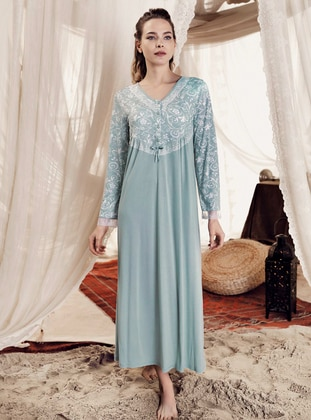 Green Almond - Crew neck -  - Viscose - Nightdress - Artış Collection