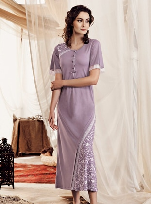 Purple - Crew neck -  - Nightdress