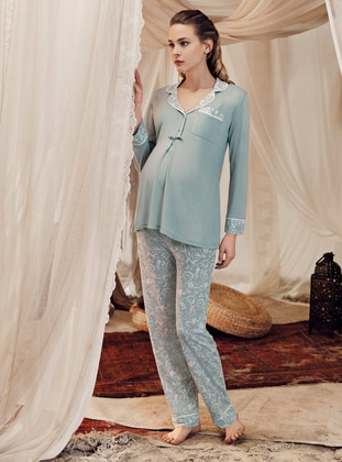 Green Almond - Multi -  - Viscose - Maternity Pyjamas - Artış Collection