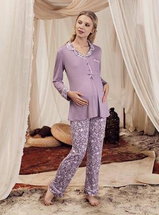 Purple - Multi -  - Viscose - Maternity Pyjamas - Artış Collection