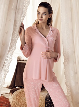 Powder - Multi -  - Viscose - Maternity Pyjamas - Artış Collection