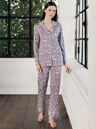 Purple - Shawl Collar - Multi -  - Viscose - Pyjama Set