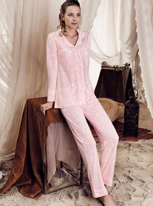 Powder - Shawl Collar - Multi -  - Viscose - Pyjama Set