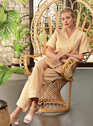 Mustard - Shawl Collar - Checkered - - Pyjama Set