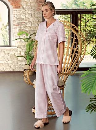 Powder - Shawl Collar - Checkered - - Pyjama Set