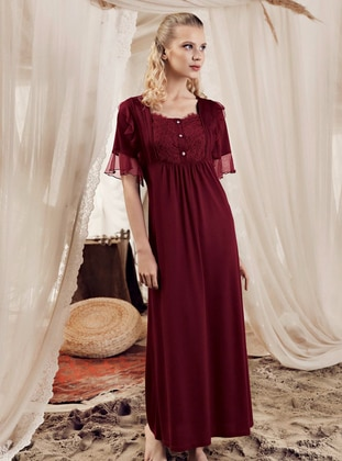 Maroon - Sweatheart Neckline -  - Viscose - Nightdress