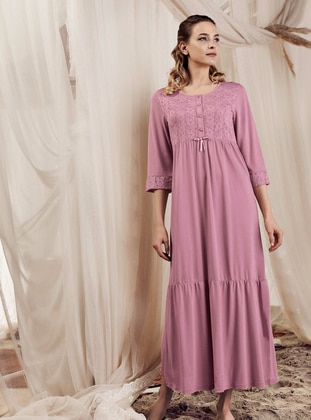 Dusty Rose - Crew neck -  - Viscose - Nightdress - Artış Collection