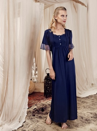 Navy Blue - Sweatheart Neckline -  - Viscose - Nightdress - Artış Collection