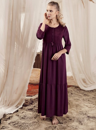 Plum - Crew neck -  - Viscose - Nightdress - Artış Collection