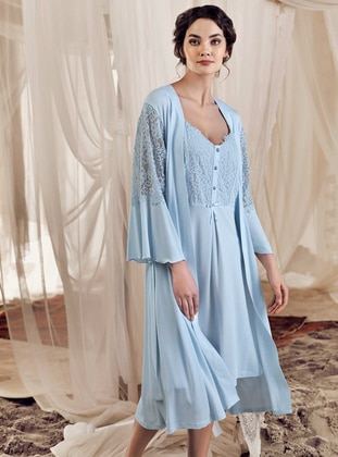 Blue -  - Viscose - Morning Robe