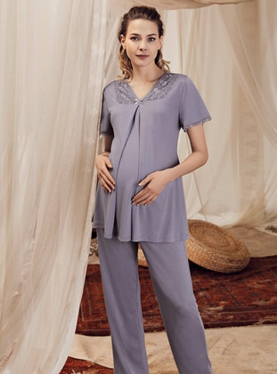 Lilac - Purple -  - Viscose - Maternity Pyjamas - Artış Collection