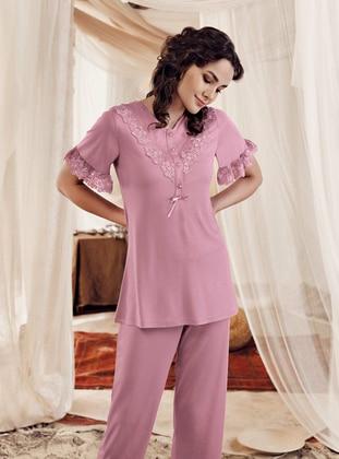 Dusty Rose - V neck Collar -  - Viscose - Pyjama Set
