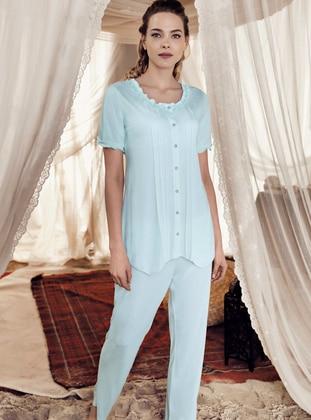 Mint - Crew neck - Cotton - Viscose - Pyjama Set