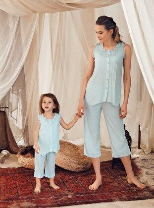 Crew neck - Cotton - Viscose - Mint - Girls` Pyjamas