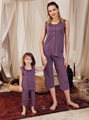 Crew neck - Cotton - Viscose - Purple - Girls` Pyjamas