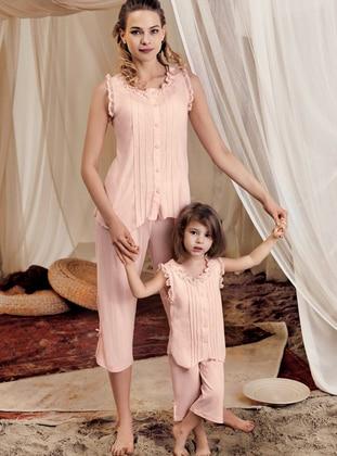 Crew neck - Cotton - Viscose - Salmon - Girls` Pyjamas