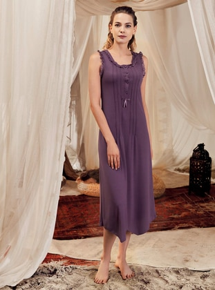 Purple - Crew neck -  - Viscose - Nightdress