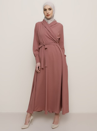 Dusty Rose - V neck Collar - Viscose - Dress